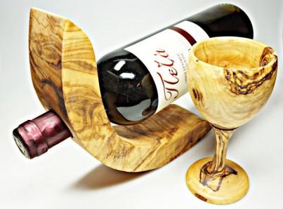 Držák na víno  z olivového dřeva 1 lahev