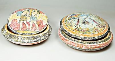 Mínojská keramika -  šperkovnice - průměr 11 cm