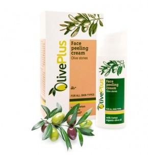 Peelingový krém na obličej s olivovými peckami OlivePlus