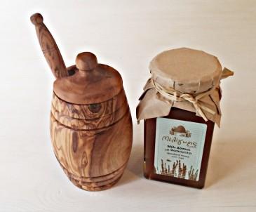 Dóza a lžička na med  z olivového dřeva