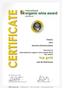 VIDIANO 2014 TOP Gold International «BIOWEINPREIS» BIOvína Mnichov
