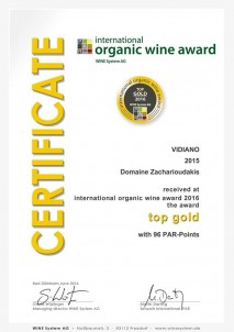 VIDIANO 2015 TOP Gold International «BIOWEINPREIS» BIOvína Mnichov