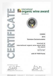 KODIX 2015 Stříbrná medaile, mezinárodní ocenění organických vín, Mnichov