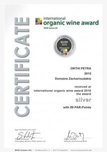 ORTHI PETRA 2015 Stříbrná medaile, mezinárodní ocenění organických vín, Mnichov