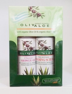 Dárková sada Sprchový gel Classic Peelingový pěnivý gel na tvář a tělo OlivAloe ® Natural cosmetics