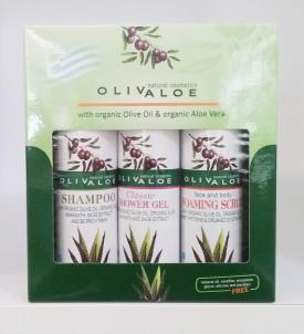 Dárková sada Šampon na vlasy a Sprchový gel a Peelingový gel OlivAloe ® Natural cosmetics
