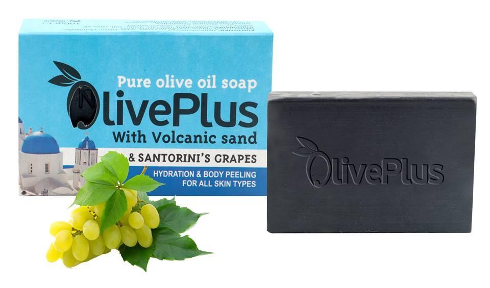 OlivePlus ® | 100% přírodní olivové mýdlo se sopečnou lávou a hrozny ze Santorin