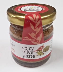 100% přírodní  olivová pasta ze zelených oliv s Chilly 40gr