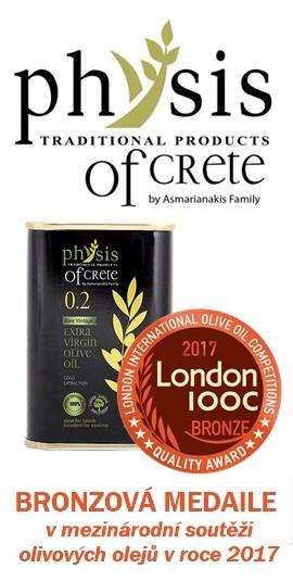 Třetí nejlepší olivový olej na světě Physis of Crete bronzová medaile