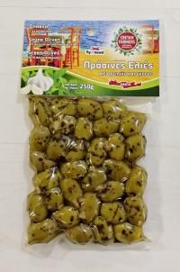 Olivy zelené s bazalkou a česnekem 250gr